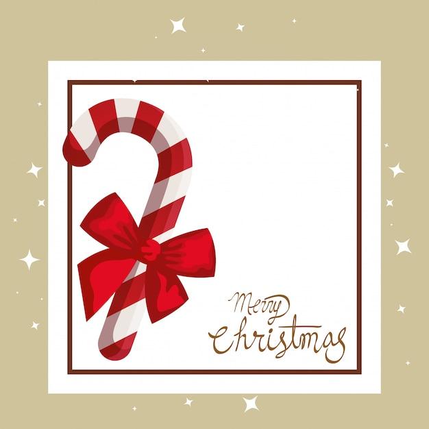 杖と正方形のフレームのメリークリスマスカード 無料ベクター