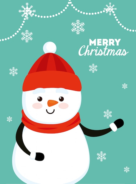 雪だるまのメリークリスマスカード 無料ベクター