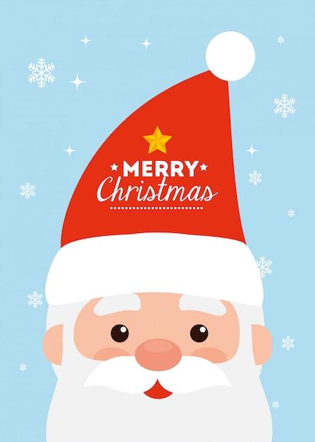Веселая рождественская открытка с лицом санта-клауса Бесплатные векторы