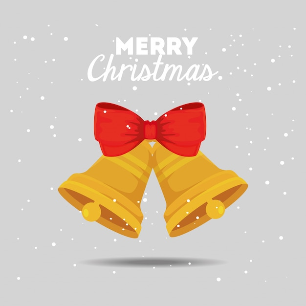 Веселая рождественская открытка с колокольчиками и бантиком Бесплатные векторы