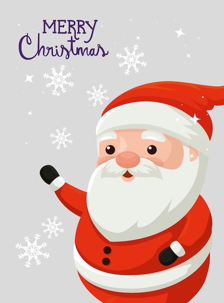 サンタクロースとメリークリスマスカード 無料ベクター