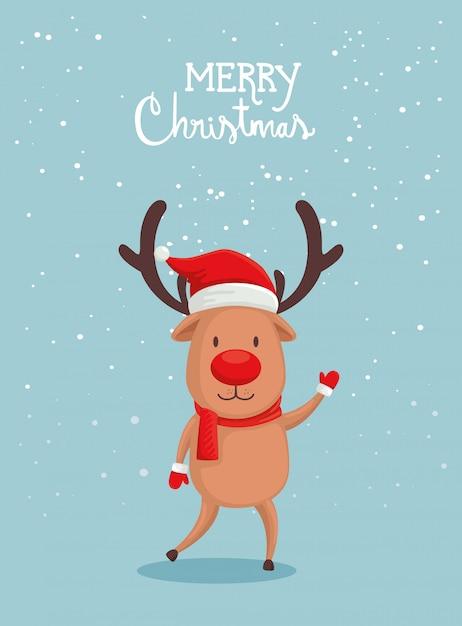 かわいいトナカイとメリークリスマスカード 無料ベクター