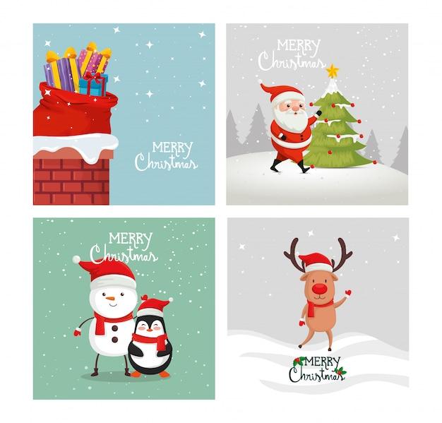 メリークリスマスと装飾のセットカード 無料ベクター