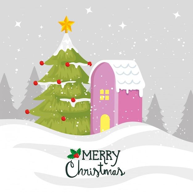 Веселая рождественская открытка с сосной и фасадом дома Бесплатные векторы