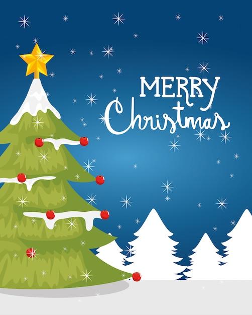 冬の風景の中の松の木とメリークリスマスカード 無料ベクター