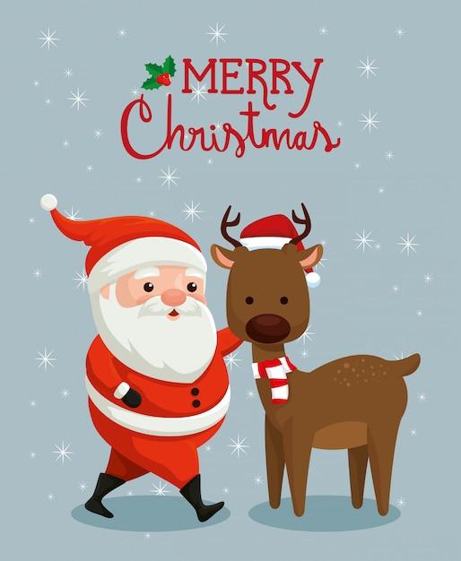 Веселая рождественская открытка с санта-клаусом и оленями Бесплатные векторы