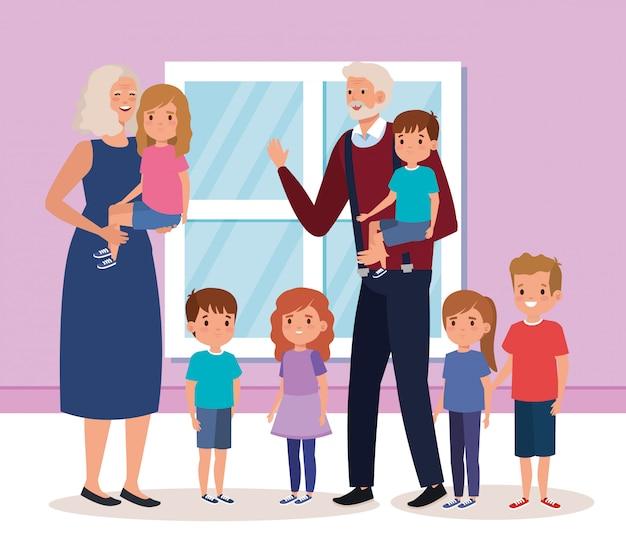 Бабушка и дедушка с внуками в помещении дома сцена Бесплатные векторы