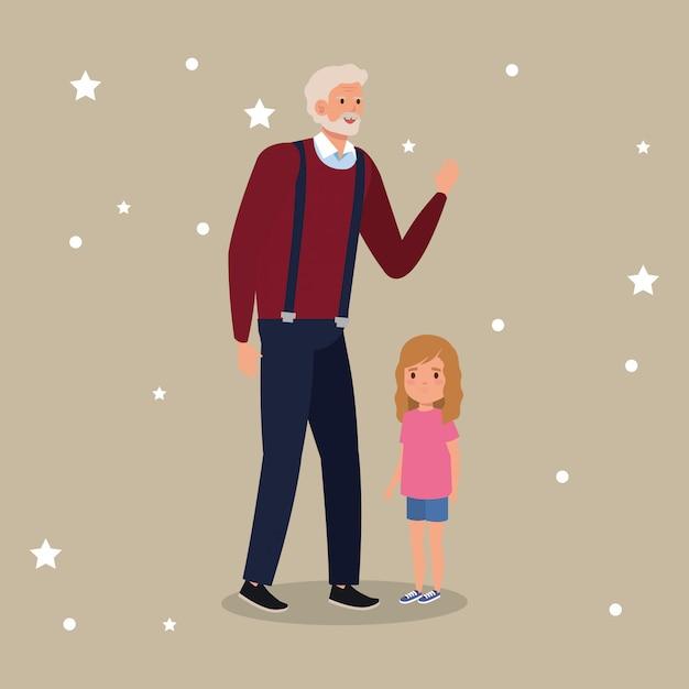 Дедушка с внучкой аватар персонажа Бесплатные векторы