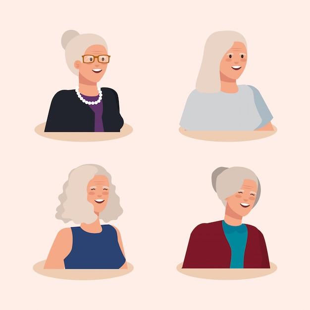 古い女性のアバターキャラクターのグループ 無料ベクター