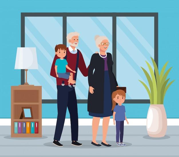 Бабушка и дедушка с внуками в помещении дома сцены Бесплатные векторы