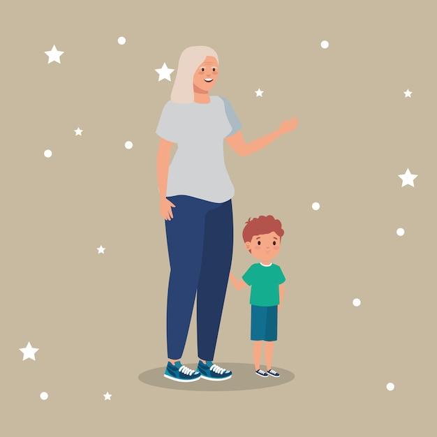 Бабушка с внуком аватарного характера Бесплатные векторы