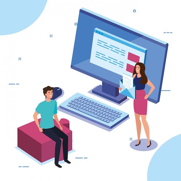 Бизнес пара с настольным компьютером Бесплатные векторы