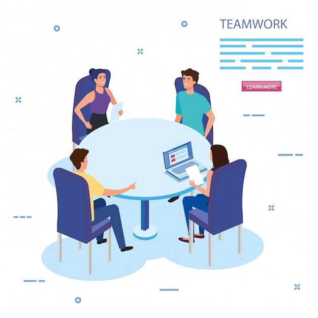 Работа команды группы по встрече персонажей аватара Бесплатные векторы