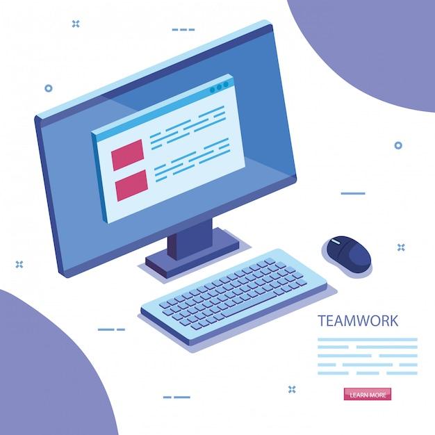 Сцена совместной работы с иконой компьютерный стол Бесплатные векторы