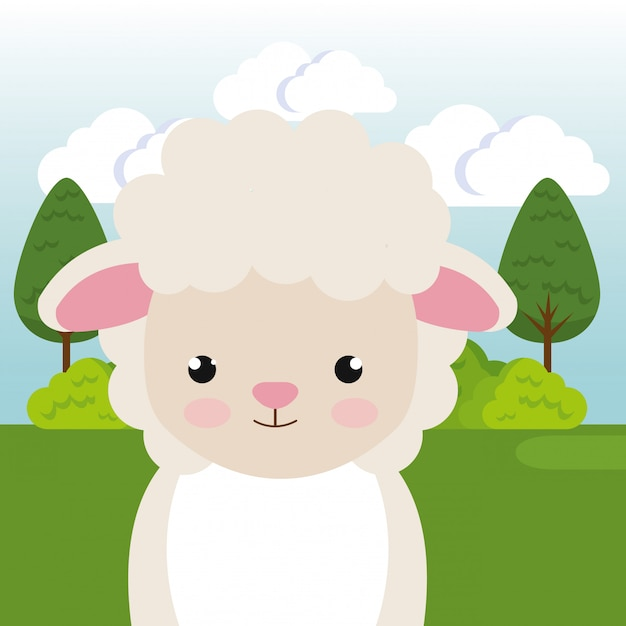 Милые овцы в поле пейзаж персонажа Бесплатные векторы
