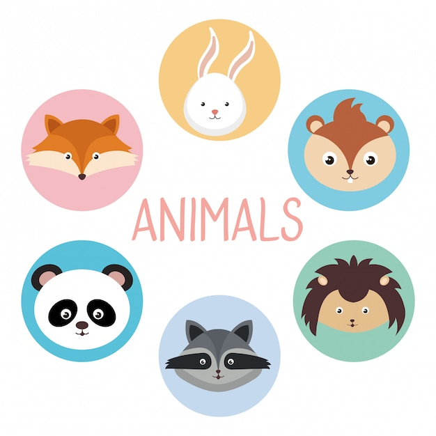 Милая группа животных головы персонажей Бесплатные векторы