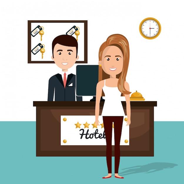 ホテルのレセプションキャラクターシーンの若い女性 無料ベクター