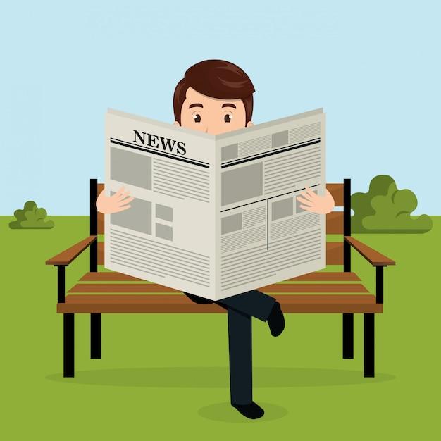 公園のアバターのキャラクターで新聞を読むビジネスマン 無料ベクター