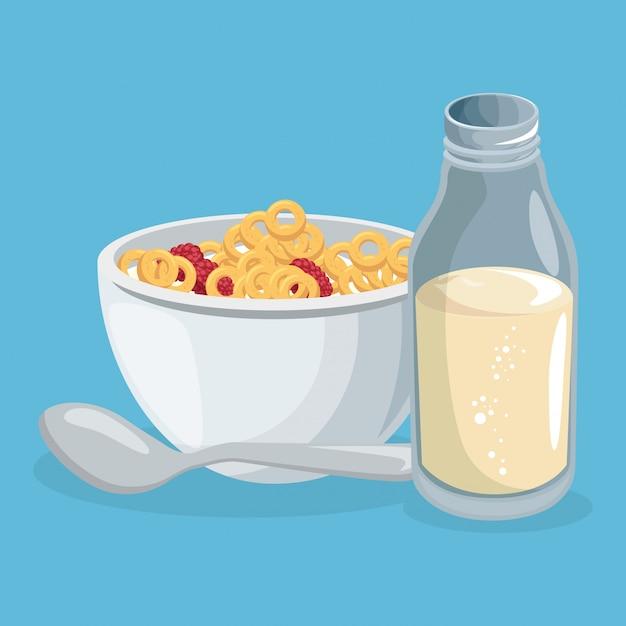 コーンフレークと牛乳おいしい食べ物朝食 無料ベクター