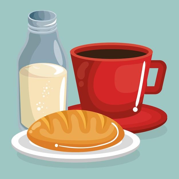 Кофе и молоко с хлебом вкусная еда завтрак Бесплатные векторы