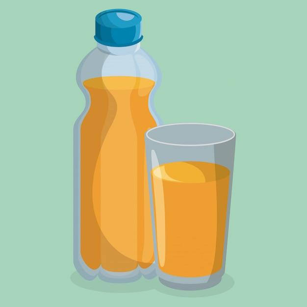 ジュースボトルとグラス 無料ベクター