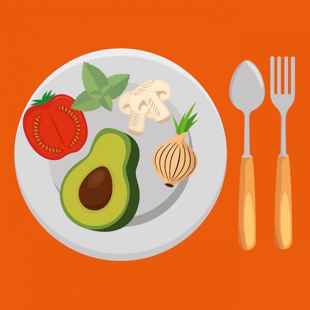 Салат из свежих овощей Бесплатные векторы