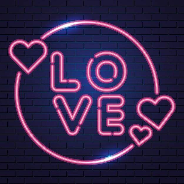 Сердца и любовь, неон Бесплатные векторы