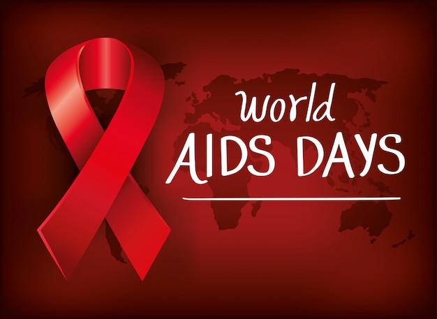 リボン世界地図バナー世界エイズデー 無料ベクター
