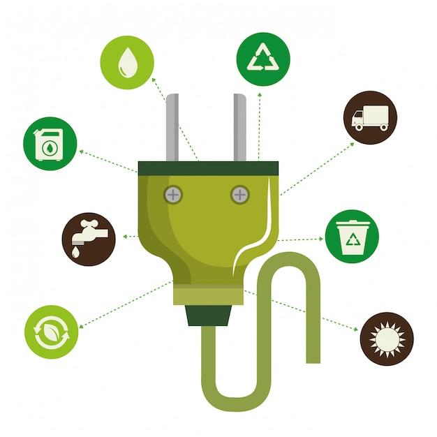 Иллюстрация окружающей среды и экологии набор иконок Бесплатные векторы