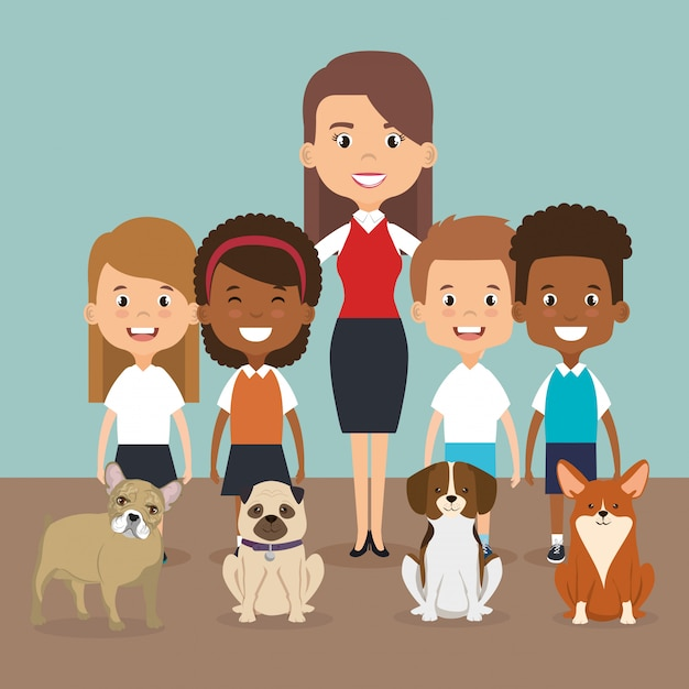 ペットのキャラクターと家族のイラスト 無料ベクター