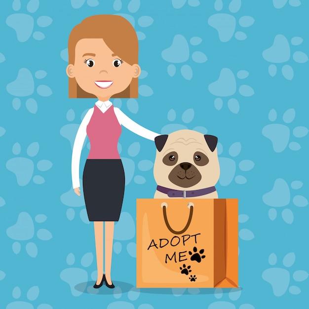 Иллюстрация членов семьи с домашними животными Бесплатные векторы
