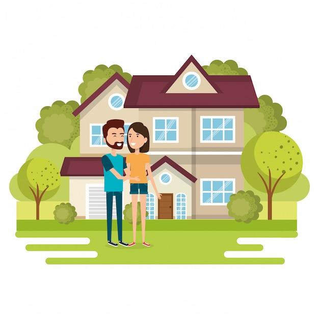 Иллюстрация пара влюбленных вдали от дома Бесплатные векторы