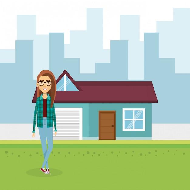 家の外の若い女性のイラスト 無料ベクター