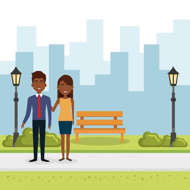 Иллюстрация пара влюбленных в парке Бесплатные векторы
