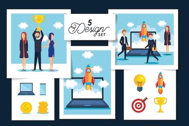 Пять дизайнов сцен деловых людей Premium векторы