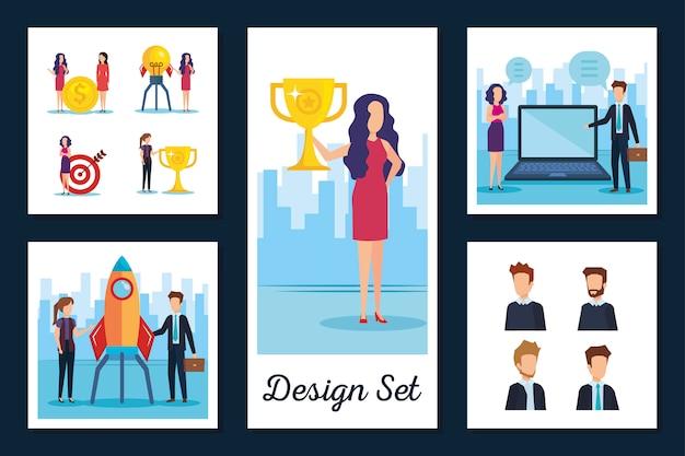 Проектирует множество деловых людей Premium векторы