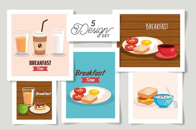 朝食メニューのデザインを設定 Premiumベクター