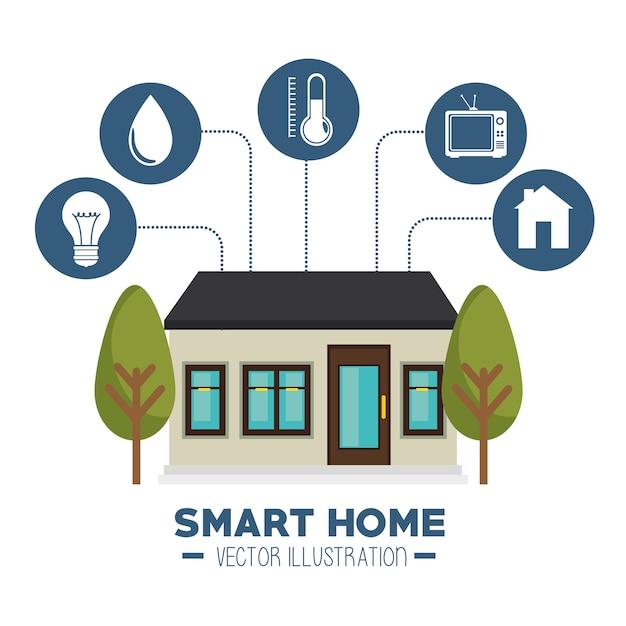 スマートハウスとそのアプリケーション分離アイコン 無料ベクター
