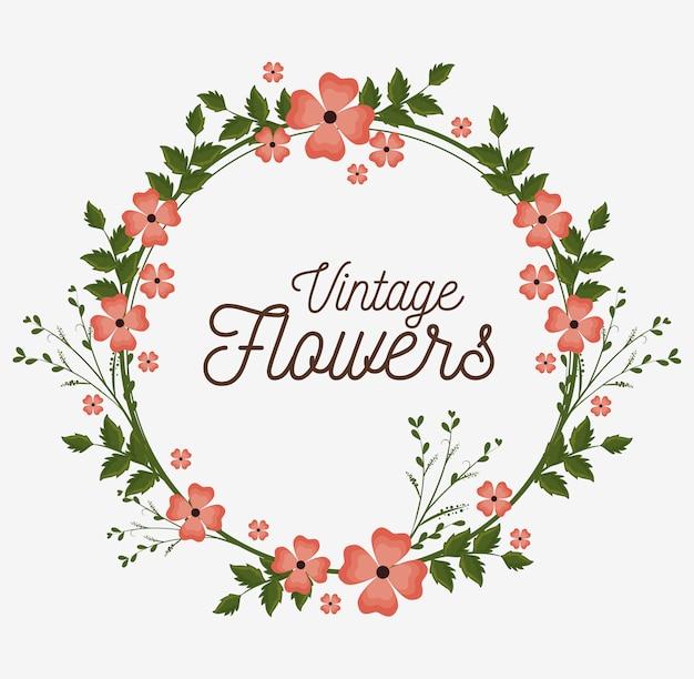 ビンテージ花フレーム装飾 無料ベクター