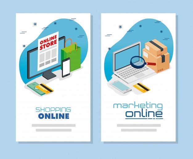 オンラインショッピングとマーケティングのコンピューターバナーを設定する Premiumベクター