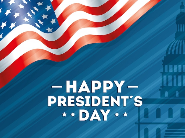 アメリカ国旗と幸せな大統領の日 Premiumベクター