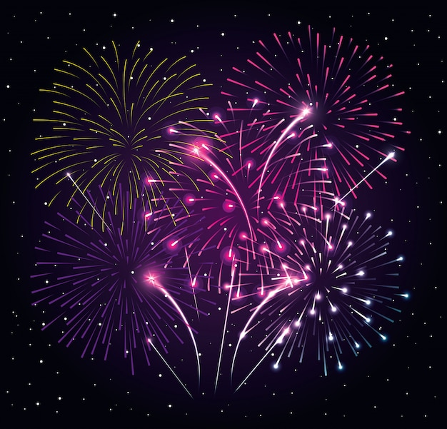 夜暗い空、新年のお祝いベクトルイラストデザインの花火爆発 Premiumベクター