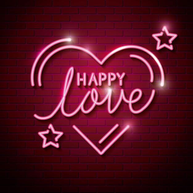 ハートとネオンの星との幸せな愛 Premiumベクター