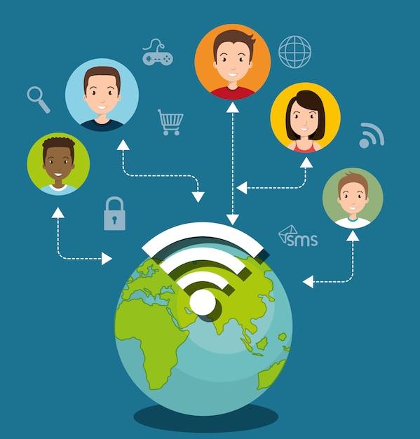 Социальная сеть медиа состав Бесплатные векторы
