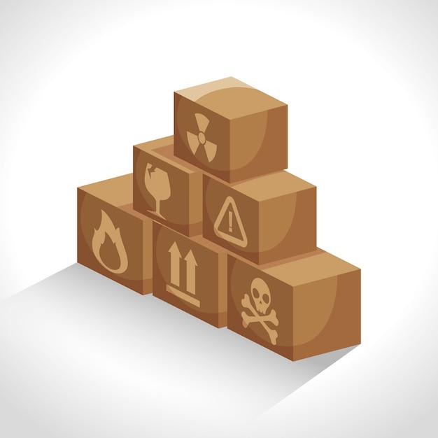 Коробка картонная упаковка доставка Бесплатные векторы
