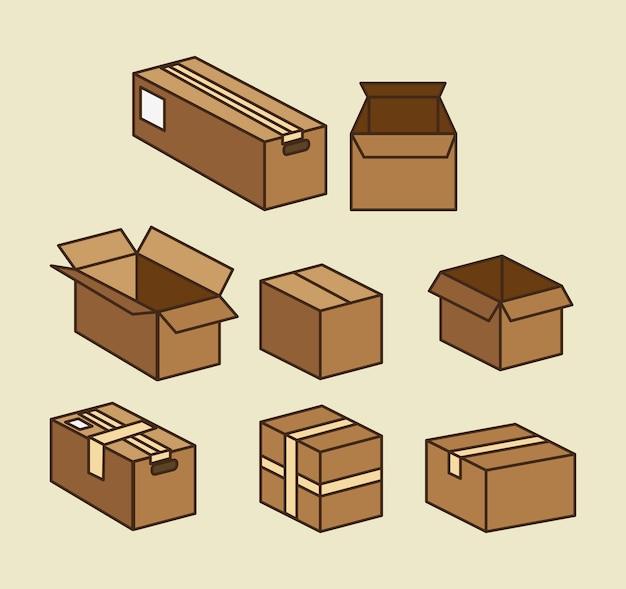 箱のカートンのパッキング配達サービス 無料ベクター
