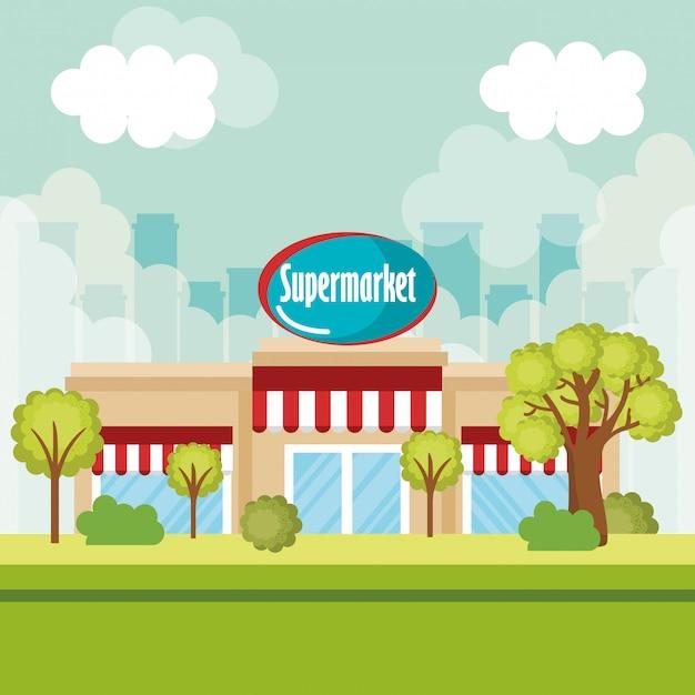 スーパーマーケットの建物のフロントシーン 無料ベクター