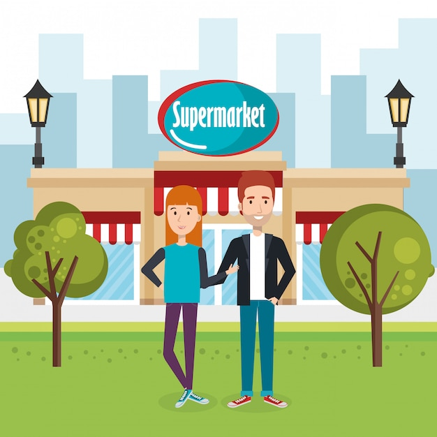 スーパーマーケットの建物のシーンの外のカップル 無料ベクター