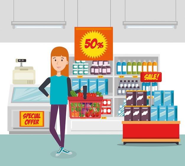 食料品の買い物かごを持つ消費者 無料ベクター