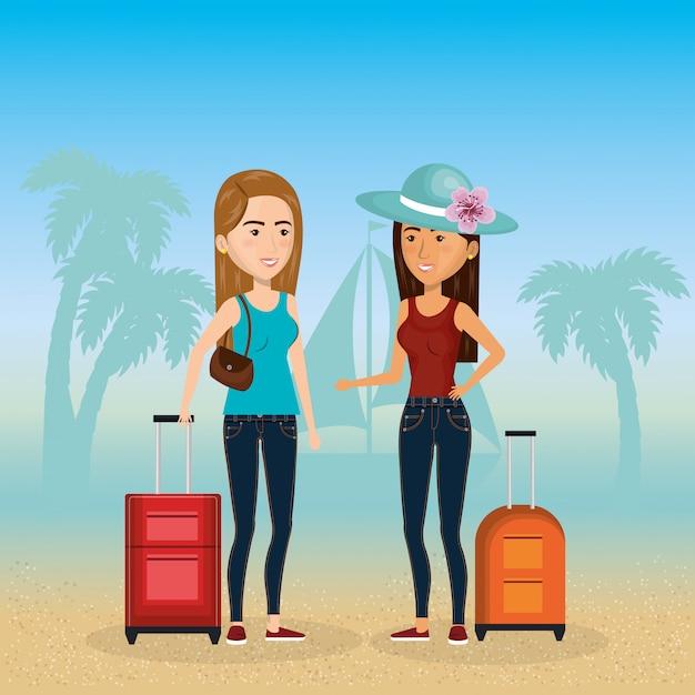 Девушки на пляже персонажей Бесплатные векторы